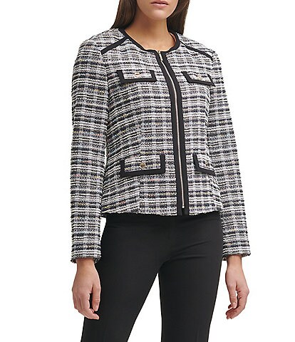 Tommy Hilfiger Knit Tweed Front Zip Jewel Neck Blazer