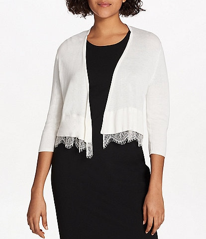 Tommy Hilfiger Lace Trim 3/4 Sleeve Open Front Cropped Shrug