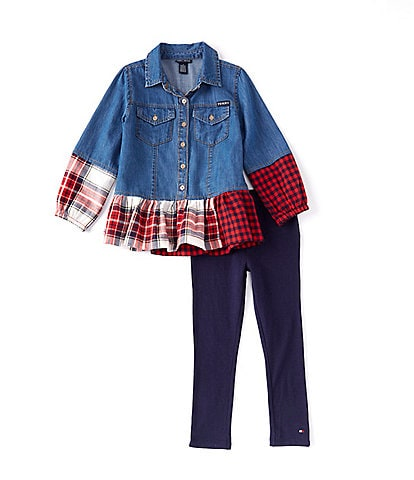Tommy Hilfiger Little Girls 2T-6X Long-Sleeve Denim/Plaid Shirt & Leggings Set