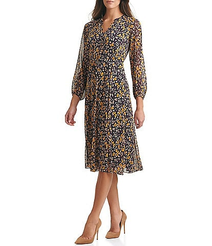 Tommy Hilfiger Long Sleeve Wild Animal Printed Midi Dress