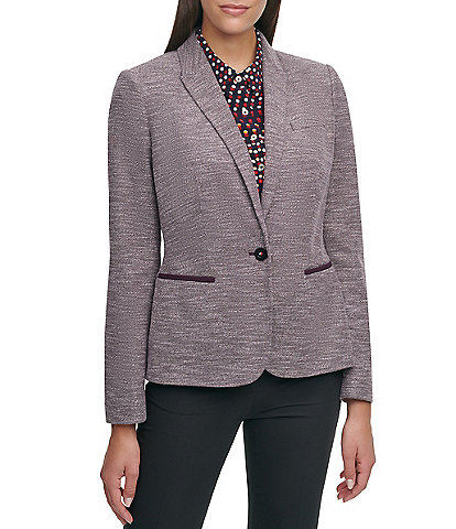 Tommy Hilfiger Marled Knit Elbow-Patch One Button Front Blazer