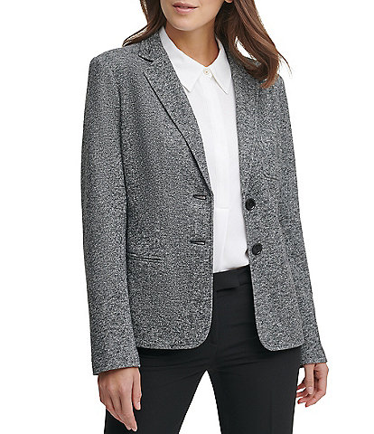 Tommy Hilfiger Marled Sweatshirt Knit Two-Button Elbow Patch Blazer