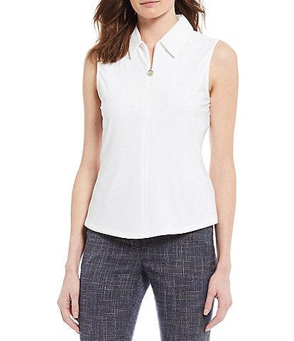 Tommy Hilfiger Matte Knit Jersey Quarter Zip Sleeveless Top