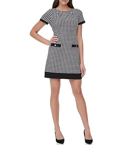 Tommy Hilfiger Menswear Inspired Houndstooth Print Short Sleeve Knit Shift Dress