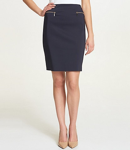 Tommy Hilfiger Metal Zipper Trim Pencil Skirt