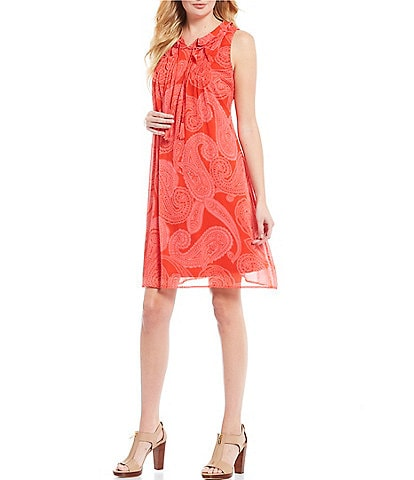 Tommy Hilfiger Paisley Print Georgette Ruffle Neck A-Line Dress