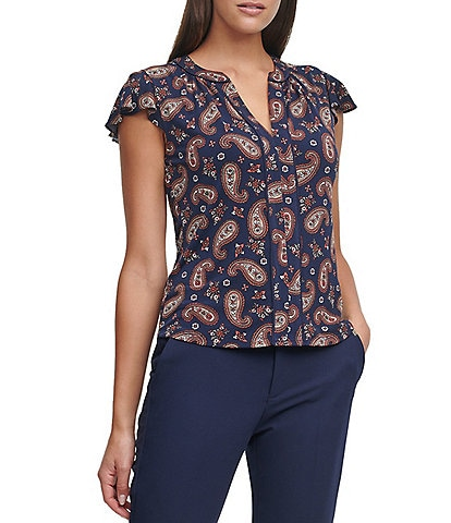 Tommy Hilfiger Paisley Print Matte Jersey Piped Trim Flutter Sleeve Top