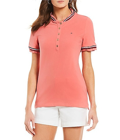 Tommy Hilfiger Pique Knit Stripe and Ruffle Trim Top