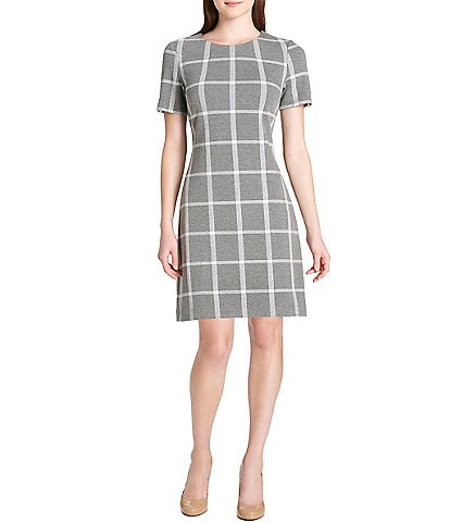 Tommy Hilfiger Plaid Crew Neck Short Sleeve A-Line Dress