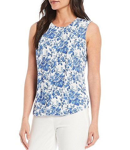 Tommy Hilfiger Pleated Sleeveless Floral Print Blouse