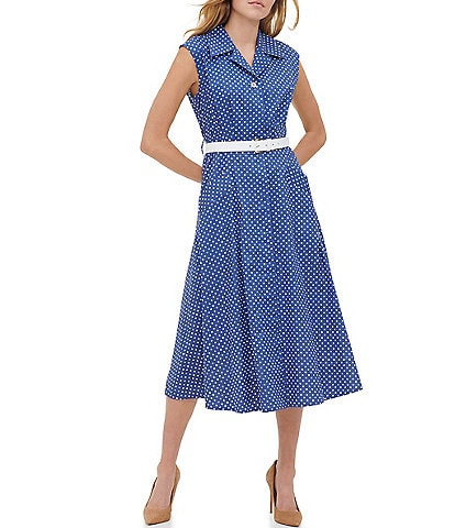 Tommy Hilfiger Polka Dot Cotton Short Sleeve Belted Midi Shirt Dress