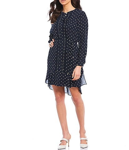 Tommy Hilfiger Polka Dot Print Georgette Pleat Front Long Sleeve Dress