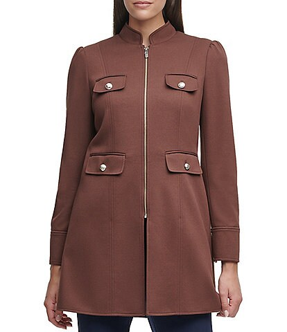 Tommy Hilfiger Ponte Knit Stand Collar Zip-Front Topper Jacket