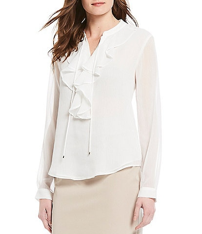 Tommy Hilfiger Ruffle Front Long Sleeve Crinkle Chiffon Top