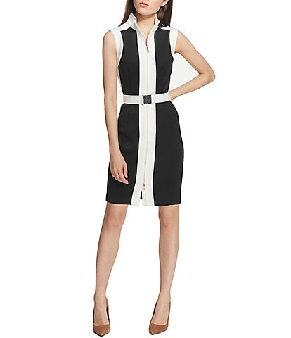 Tommy Hilfiger Scuba Colorblock Zip Front Belted Sheath Dress
