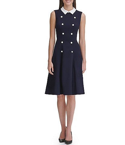 Tommy Hilfiger Scuba Crepe Contrast Collar Snap Front Detail Stretch Dress