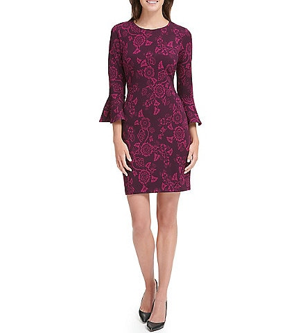 Tommy Hilfiger Scuba Crepe Floral Print 3/4 Bell Sleeve Sheath Dress