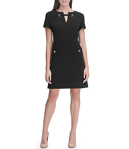 Tommy Hilfiger Scuba Crepe Keyhole Neck Grommet Pocket Short Sleeve A-Line Dress