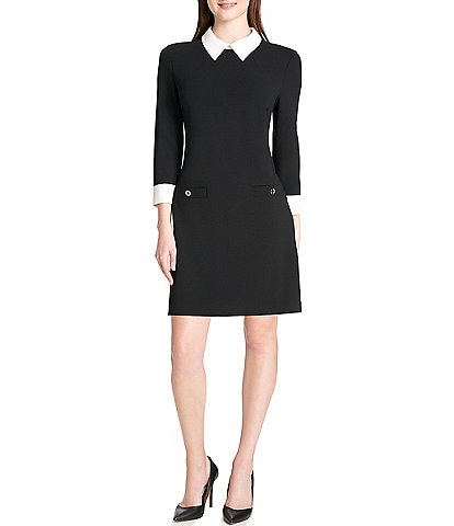 Tommy Hilfiger Scuba Crepe 3/4 Sleeve Collared Sheath Dress