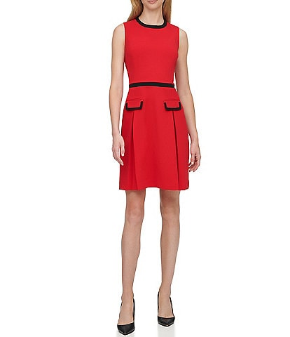 Tommy Hilfiger Scuba Crepe Sleeveless Fit & Flare Dress
