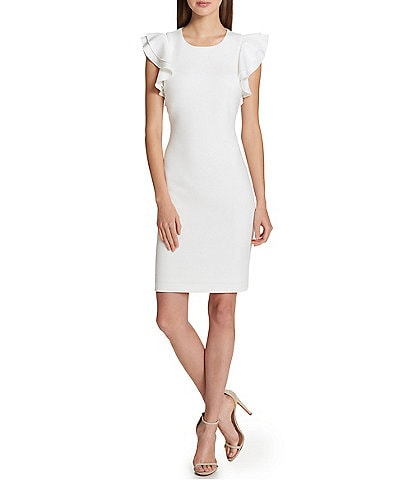 Tommy Hilfiger Scuba Flutter Ruffle Cap Sleeve Sheath Dress