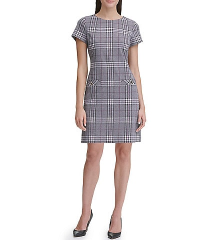 Tommy Hilfiger Short Sleeve Crew Neck Menswear Inspired Plaid Sheath Dress