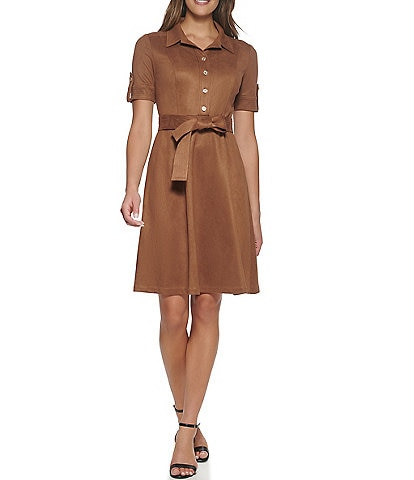 Tommy Hilfiger Short Sleeve Faux Suede Point Collar Shirt Dress