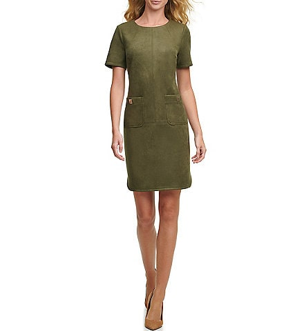 Tommy Hilfiger Short Sleeve Scuba Suede Dress with Patch Pockets