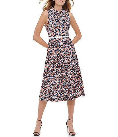 Tommy Hilfiger Sleeveless Belted Floral Midi Shirt Dress