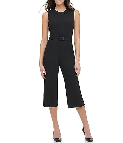 Tommy Hilfiger Sleeveless Belted Scuba Crepe Cropped Jumpsuit