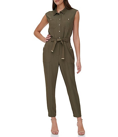 Tommy Hilfiger Sleeveless Button Front Tie Waist Twill Utility Jumpsuit