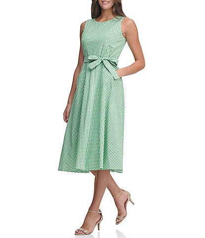 Tommy Hilfiger Sleeveless Gingham Tie Front Fit & Flare Midi Dress