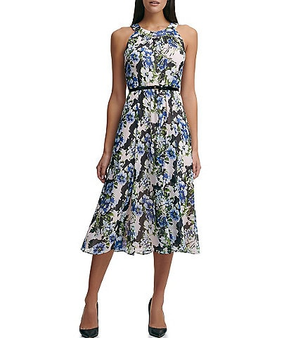 Tommy Hilfiger Sleeveless Halter Neck Floral A-line Midi Dress