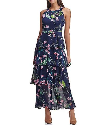 Tommy Hilfiger Sleeveless Halter Neck Floral Chiffon Ankle Length Maxi Dress