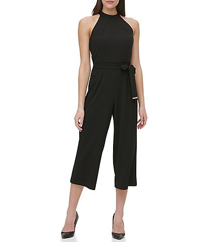 Tommy Hilfiger Sleeveless Halter Neck Tie Waist Scuba Crepe Cropped Jumpsuit