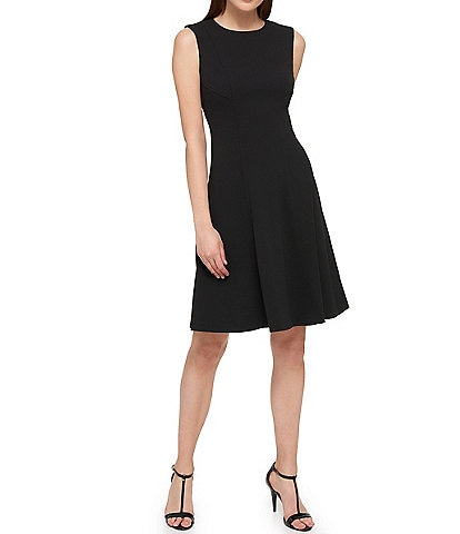 Tommy Hilfiger Sleeveless Scuba Crepe Fit & Flare Dress