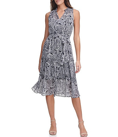 Tommy Hilfiger Sleeveless Split Neck Paisley Tier Dress