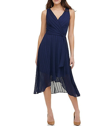 Tommy Hilfiger Sleeveless V-Neck Tonal Dobbie Stripe Chiffon Midi Dress