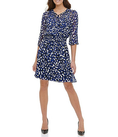 Tommy Hilfiger Smocked Waist Polka Dot Chiffon A-Line Dress