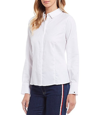Tommy Hilfiger Solid Cotton Long Sleeve Essex Button Front Shirt
