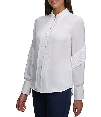 Tommy Hilfiger Solid Crepe de Chine Pleat Detail Long Sleeve Button-Front Blouse