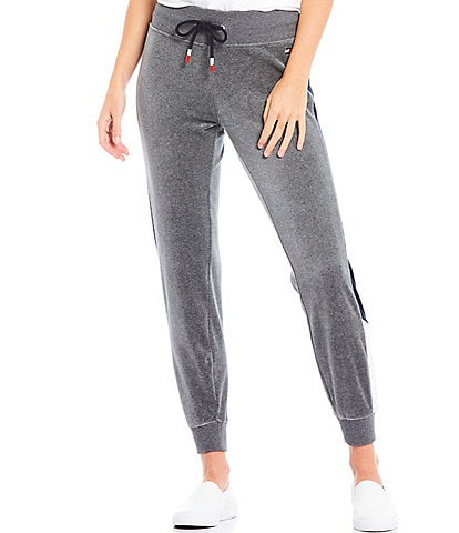 Tommy Hilfiger Sport Colorblock Full Length Velour Jogger Sweatpants