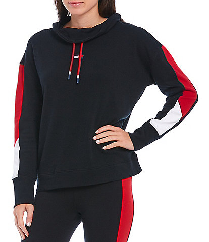 Tommy Hilfiger Sport Cowl Neck Long Sleeve Color Blocked Sweatshirt