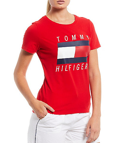 Tommy Hilfiger Sport Crew Neck Short Sleeve Printed Flag Embroidered Tee