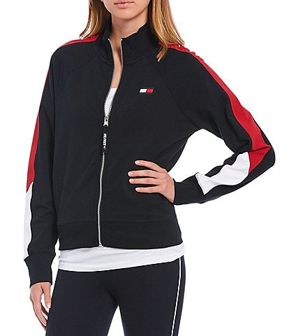 Tommy Hilfiger Sport Cropped Mock Neck Colorblock Jacket