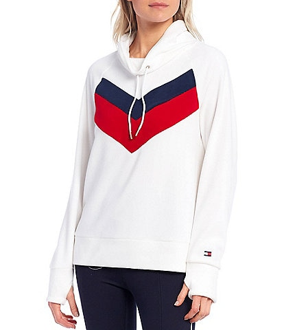 Tommy Hilfiger Sport Fleece Chevron Colorblock Funnel Neck Pullover