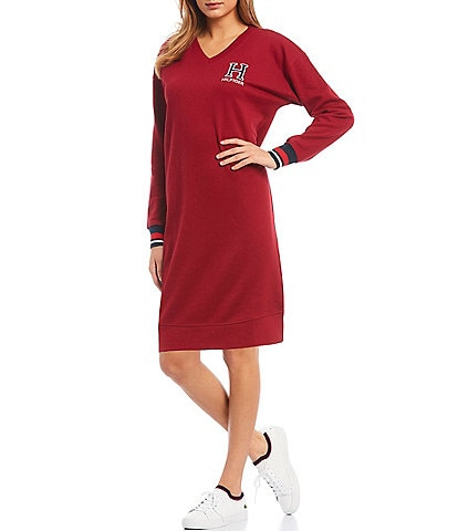 Tommy Hilfiger Sport Fleece Knit Varsity Letter V-Neck Sweater Dress