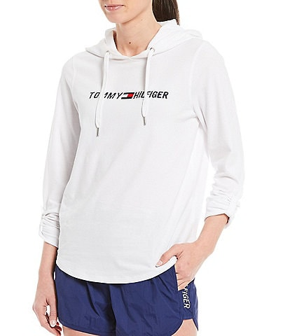 Tommy Hilfiger Sport Hooded Roll Tab Long Sleeve Embroidery Logo Tee