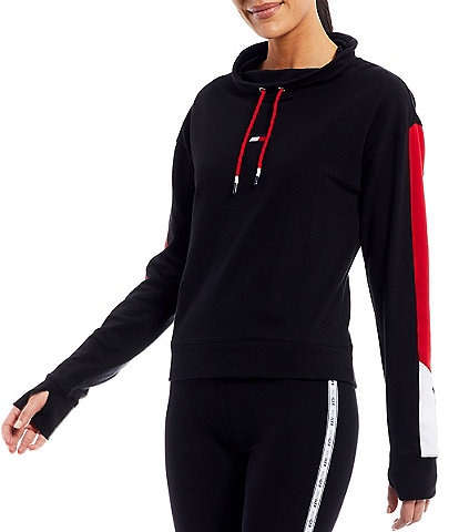 Tommy Hilfiger Sport Long Sleeve Flag Embroidery Cowl Neck Pullover