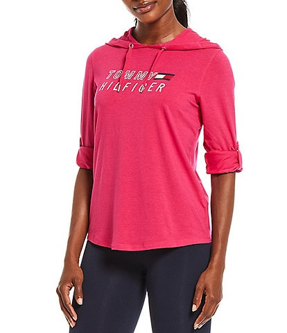 Tommy Hilfiger Sport Long Sleeve Roll Tab Graphic Front Hoodie Tee